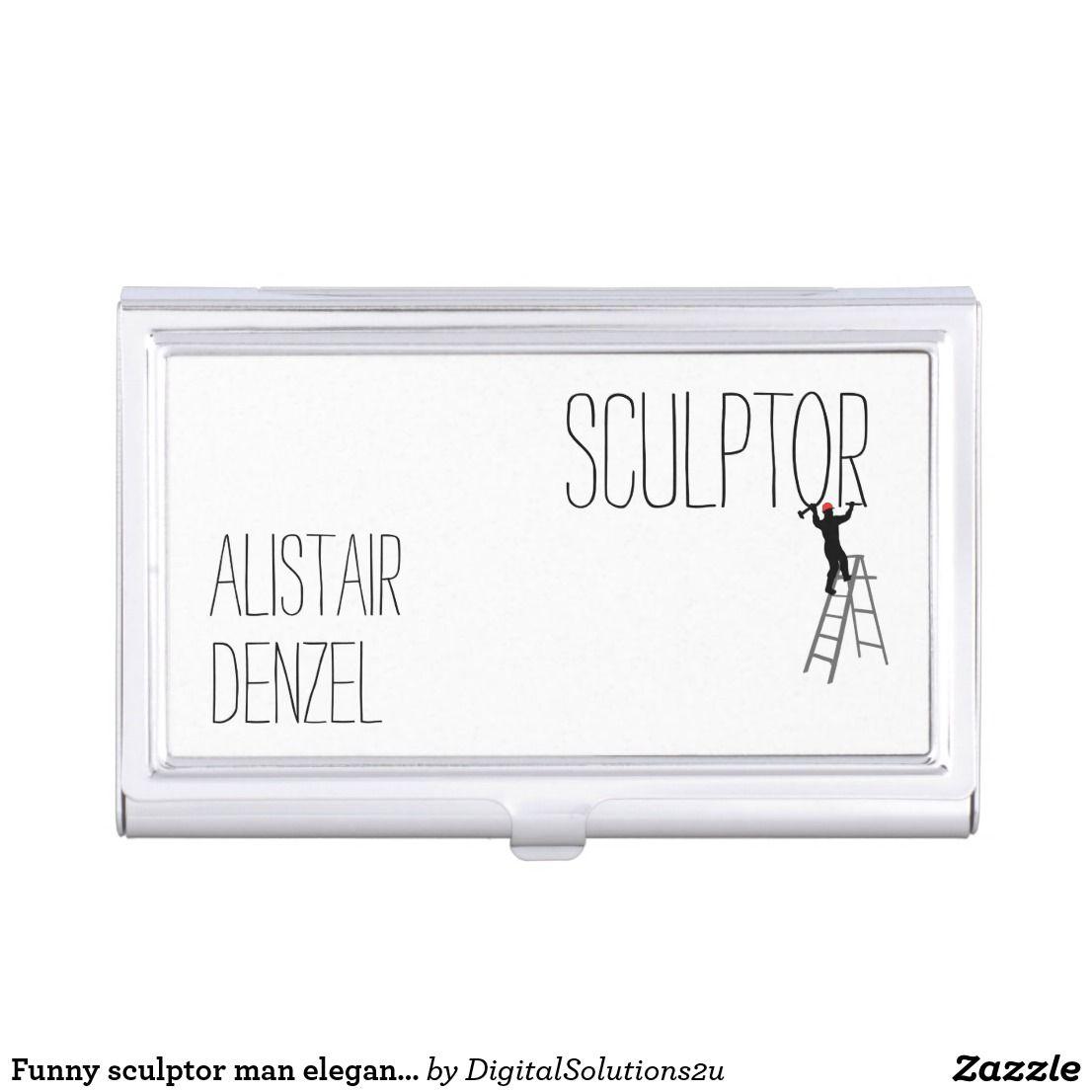 Funny Sculptor Man Elegant Customizable Business Card Case