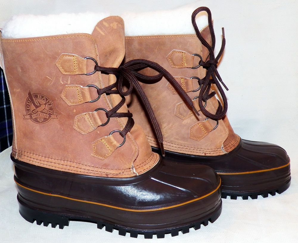 Eddie Bauer Waterproof Insulated Snow Boots Faux Fur Wool Liner Men 8 Women  9.5