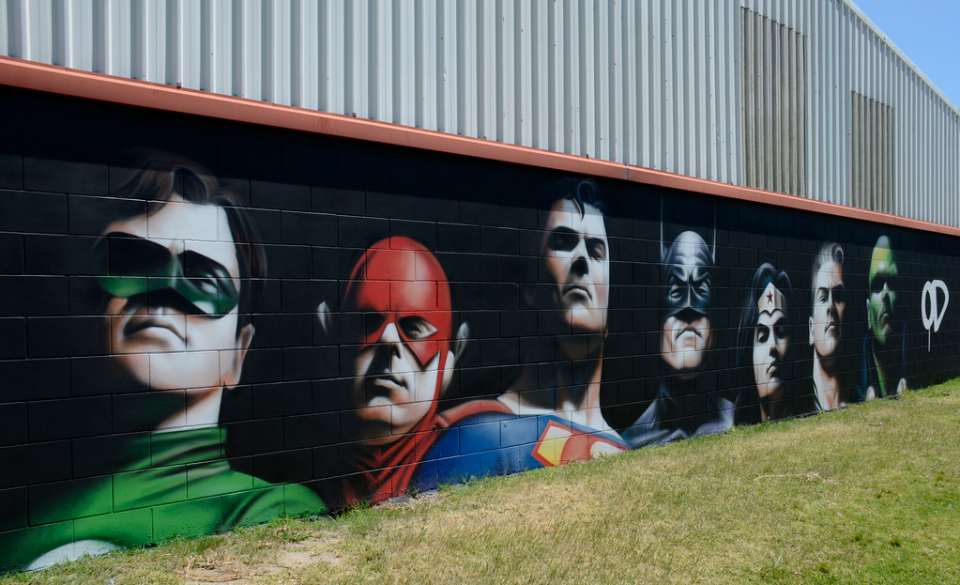 Justice League Comic Geek Street Art Mural Amazing Street Art Street Art 3d Street Art