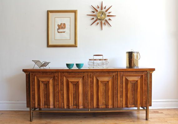 Gorgeous Mid Century Modern Sideboard By JL Metz Made Of Weathered Cherry And Burled Carpathian