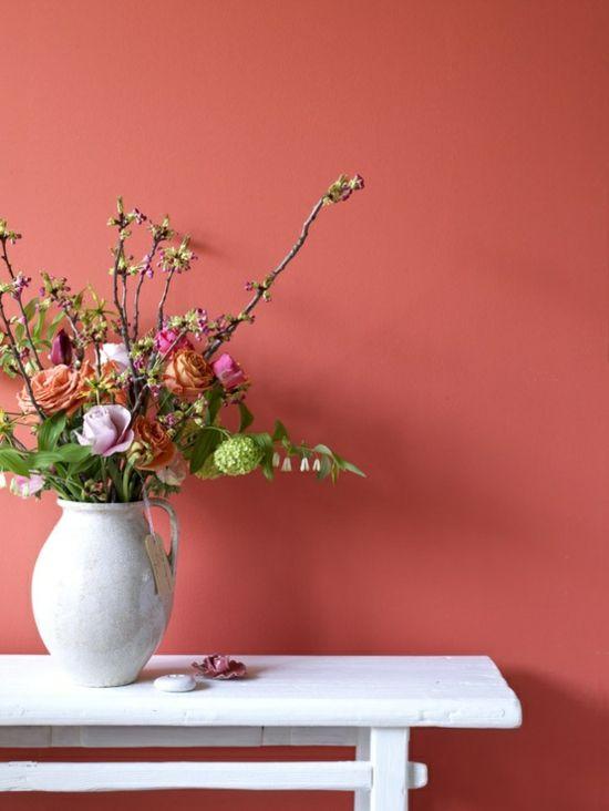 Korall Farbe Wandgestaltung | Koralle | Pinterest | Wandgestaltung ...