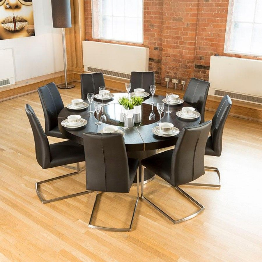 Luxury Large Round Black Oak Dining Table Lazy Susan+ 8 Chairs 5360blk