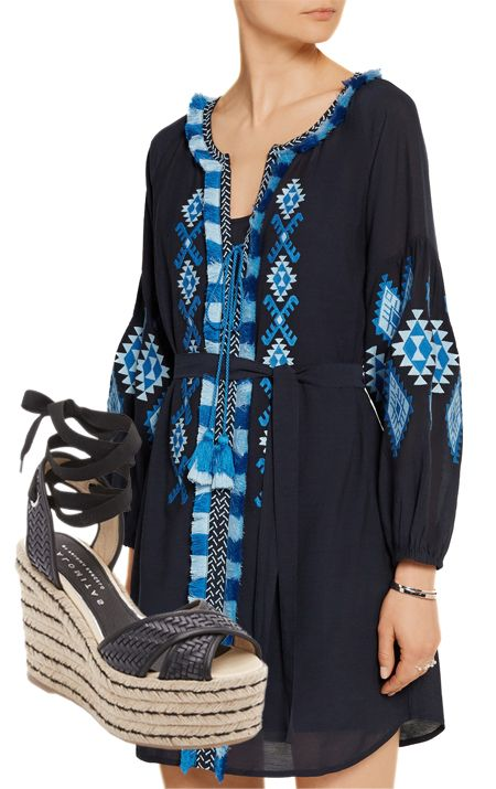 Boho Chic is perfect for spring-love this embroidered dress and sandals.