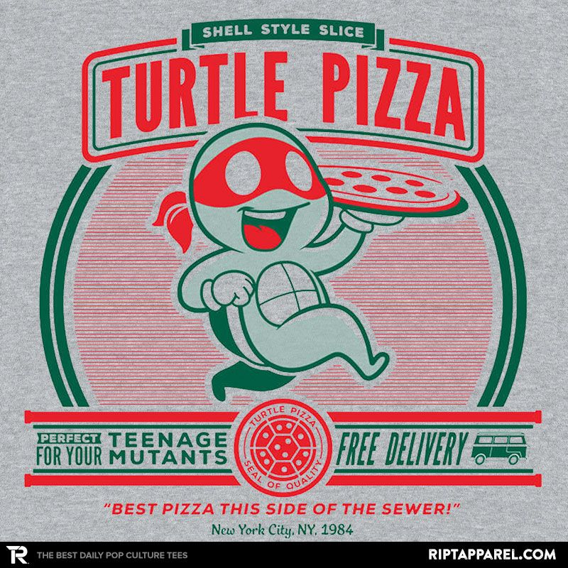 ''Turtle Pizza'' by owlhaus available today only, 8/21/16, at RIPT Apparel
