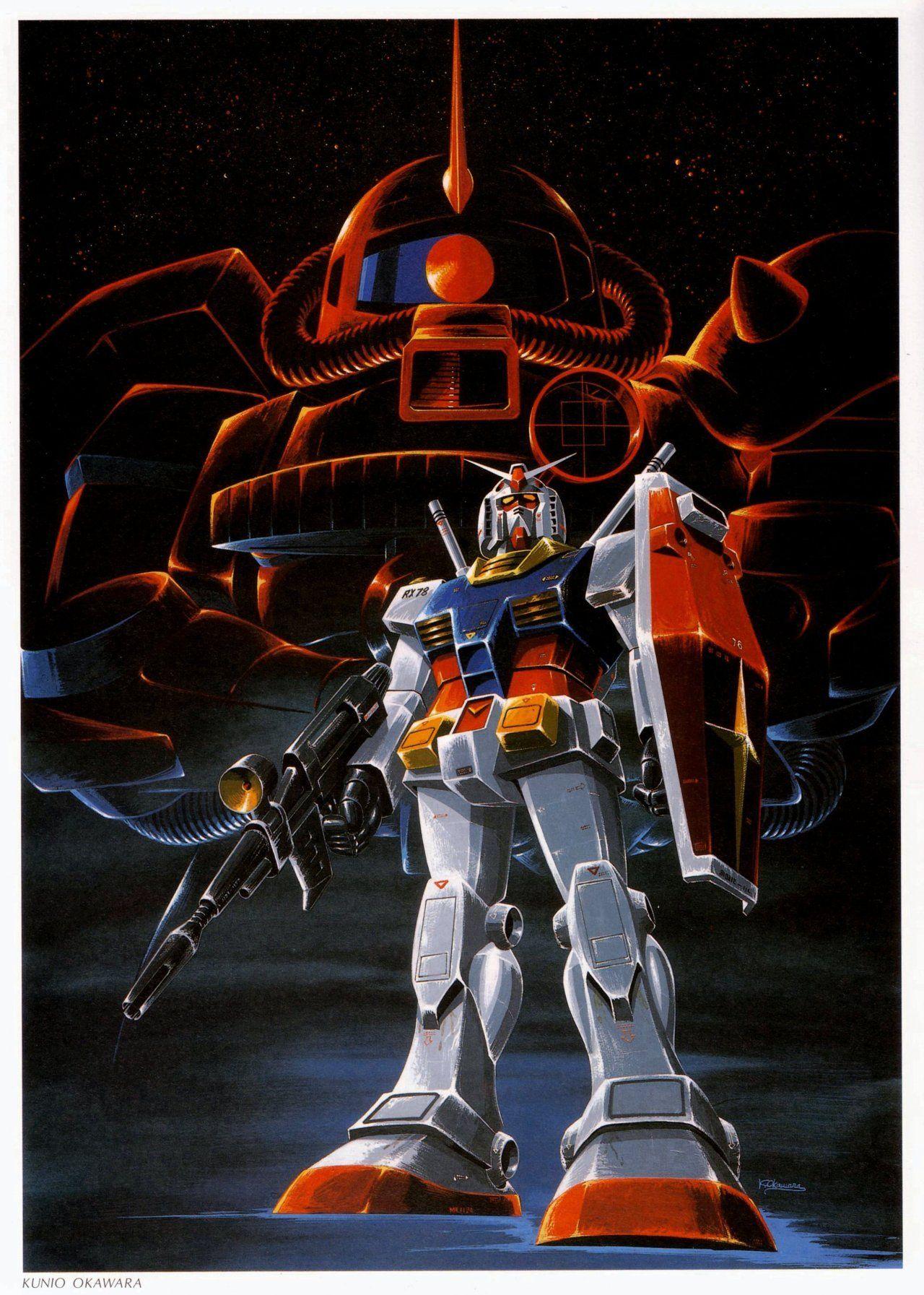 Gundam & Char's Zaku 2 Gundam, Gundam art, Anime mobile