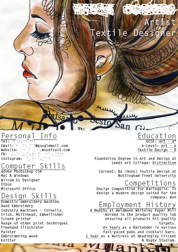 Textile Designer CV Exemplary Cv Creat