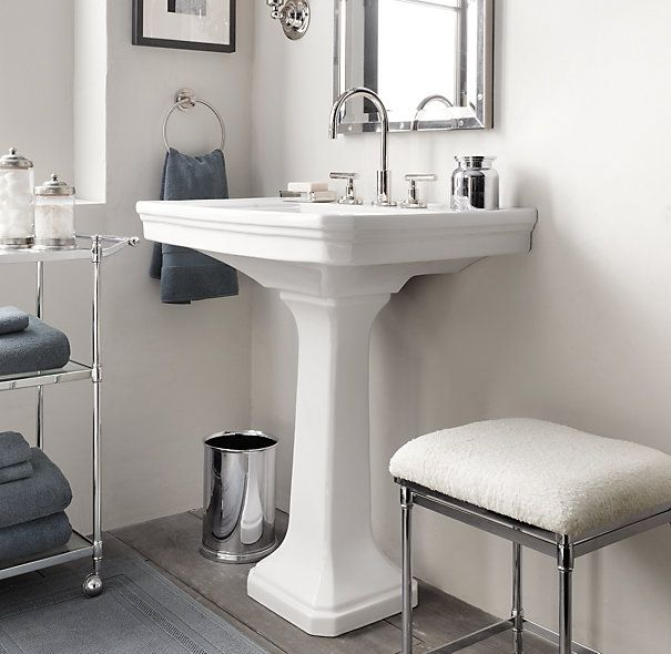 Simple Small Bathroom With Pedestal Sink