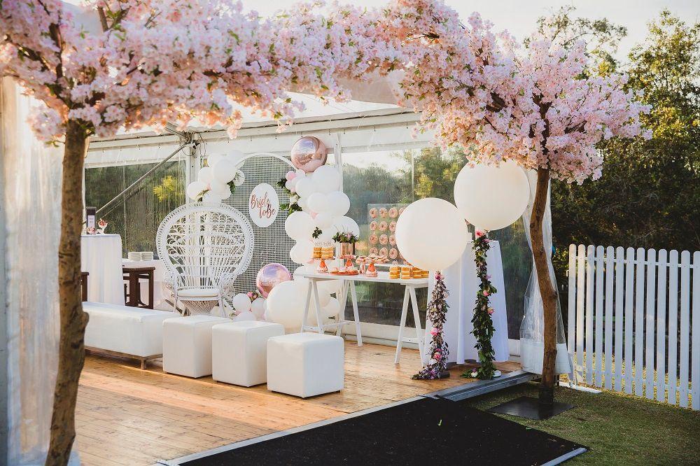 A Beautiful Bridal Shower Setup Table Display Backdrop Peakcock Chair Plinth Blossom Tree Wedding Cherry Blossom Theme Cherry Blossom Wedding Theme