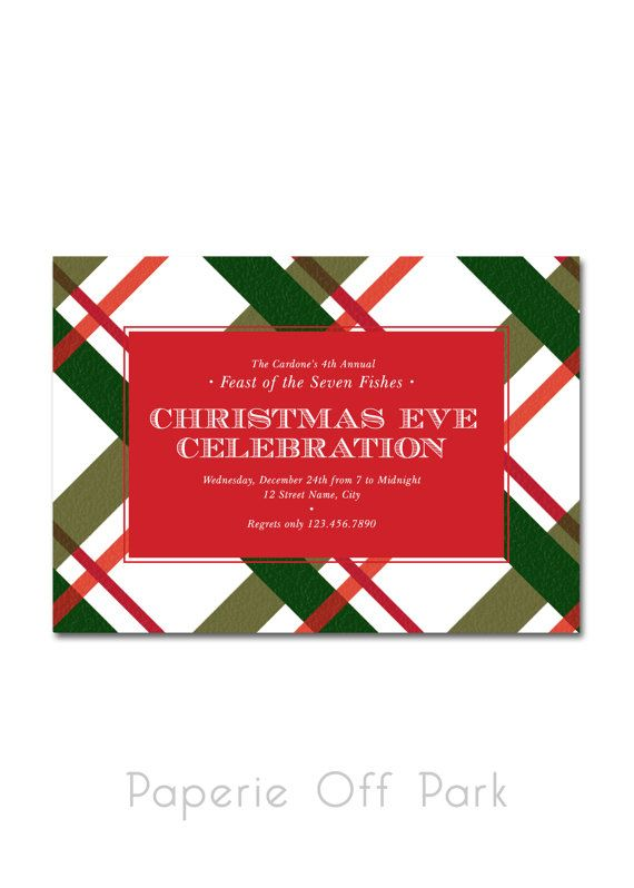 Christmas Eve Celebration Dinner 5x7 Invitation - Feast of the Seven - invitation wording for christmas dinner party
