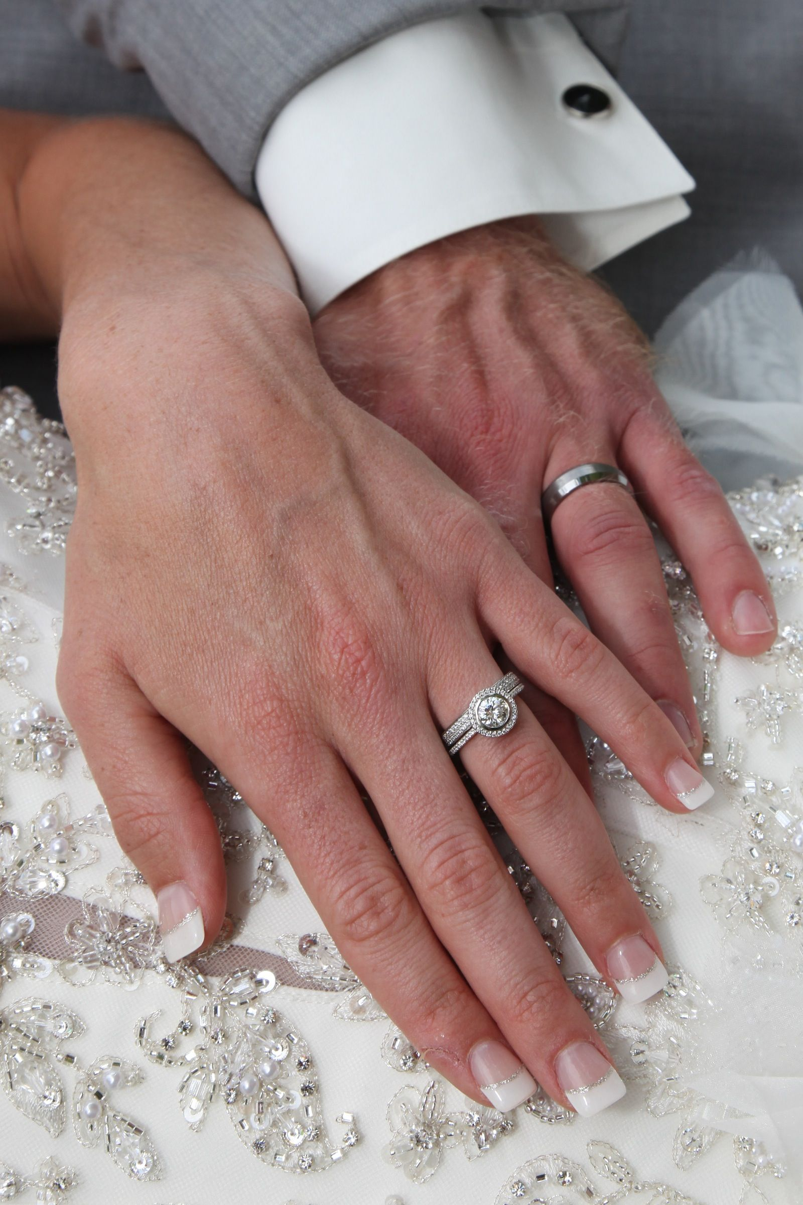 Real Ritani Engagement Rings  Round Cut Diamond In Halo Setting And  Matching Micropavé Two Row