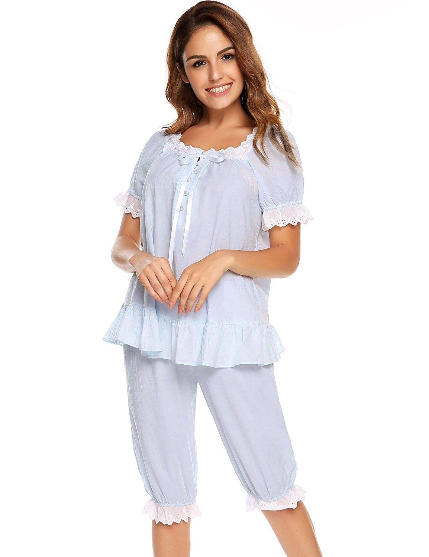 7c91f00d02 Womens Cotton Pajama Set Victorian Vintage PJ Sleepwear with Short Pants -  Light Blue - CI1820QC574
