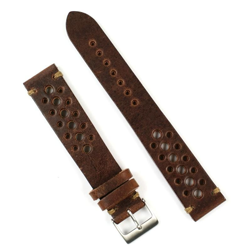 22mm Classic Vintage Racing Watch Strap Chestnut/Khaki-stitch | BandRBands