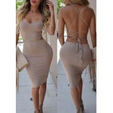 $43.08 Apricot Lace Up Back Strap Design Slim Fit Dress #boutiquefabdiva