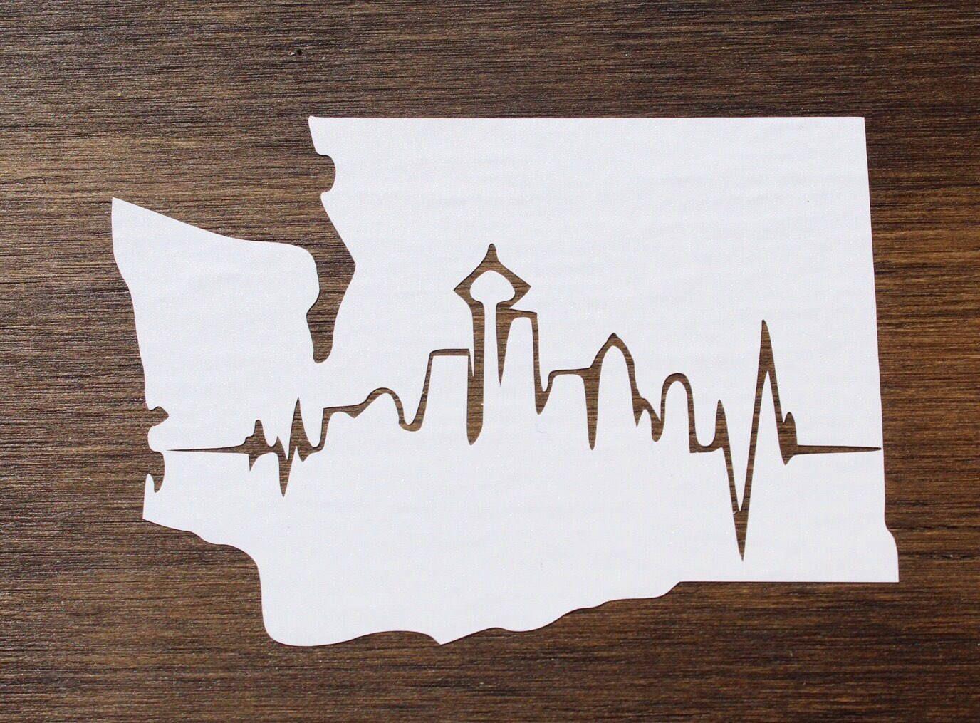 Washington State Decals Pnw Pacific Northwest Seattle Etsy Stamp Design Bumper Stickers Seattle Tattoo [ 1015 x 1376 Pixel ]