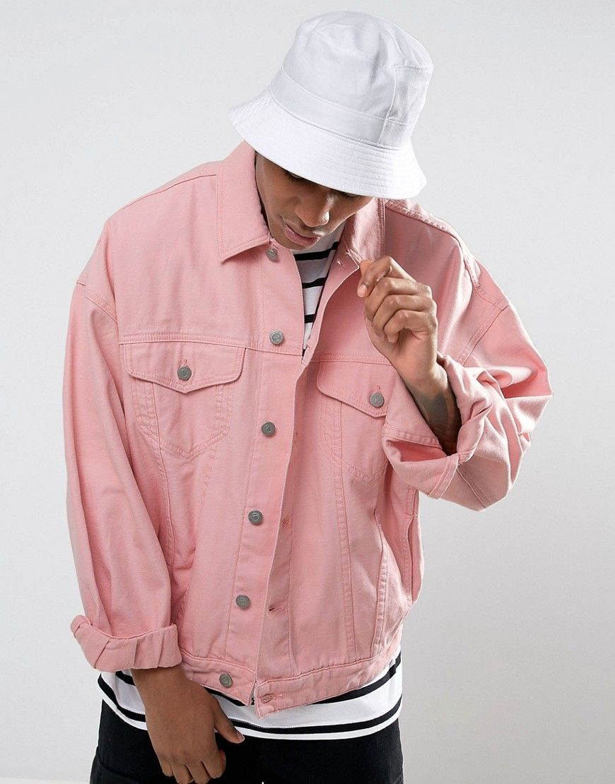 Asos Denim Jacket In Oversized Fit In Pink Pink 81 4 In 2019