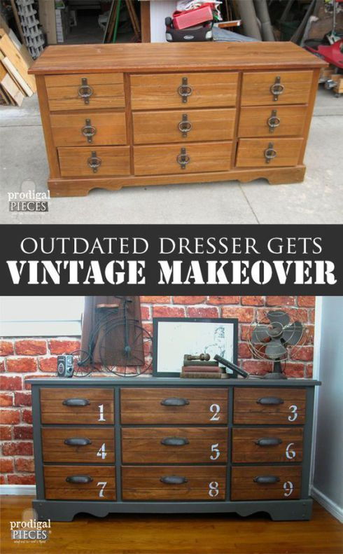 Ideas : This dresser went from 80's drab to industrial farmhouse with some paint and new hardware!