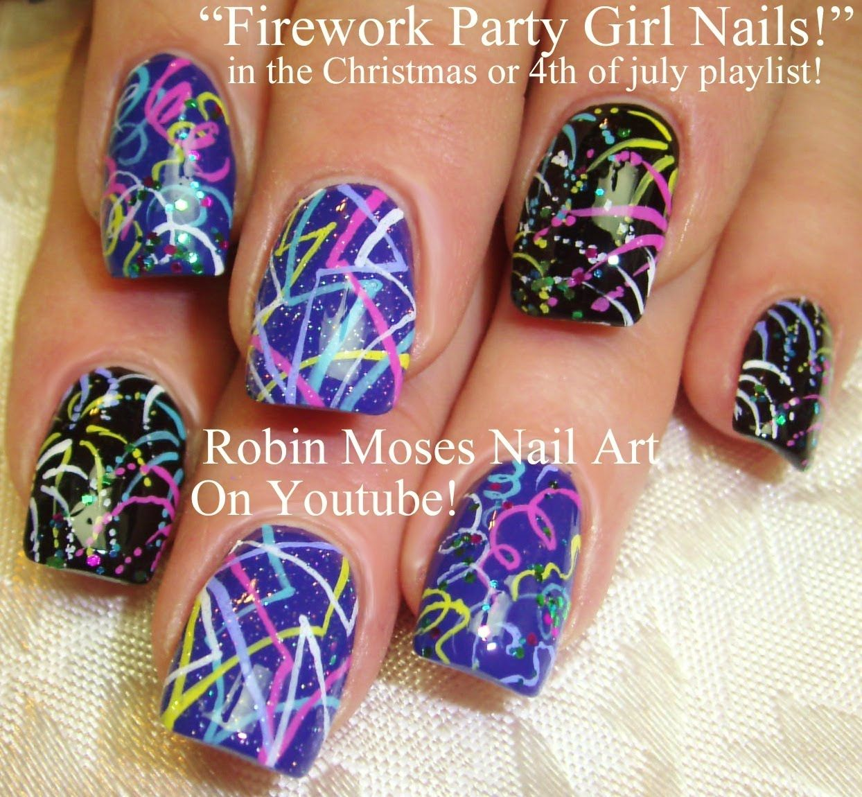 Easy New Years Nail Art | robin moses nail art videos | Pinterest ...