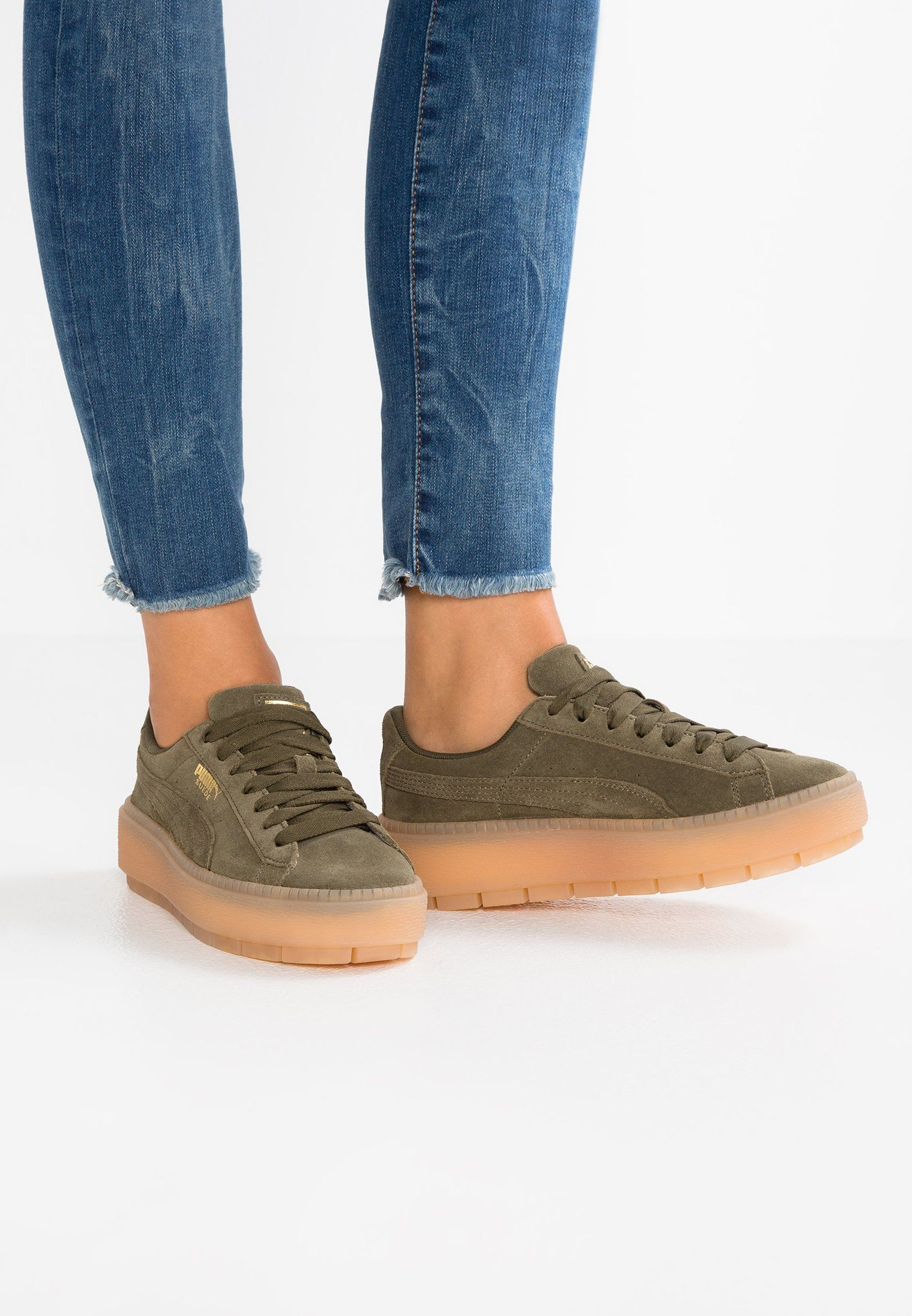 3f00cf55c68e Puma SUEDE PLATFORM TRACE - Trainers - olive night - Zalando.co.uk