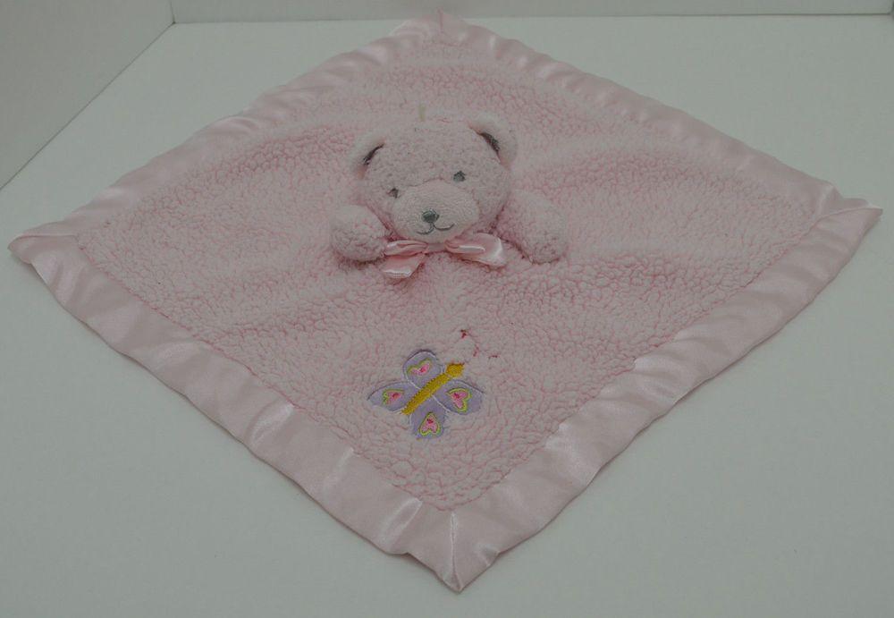 "Tiddliwinks Pink Bear Security Blanket Lovey Butterfly Sherpa Satin Rattle 14/"""