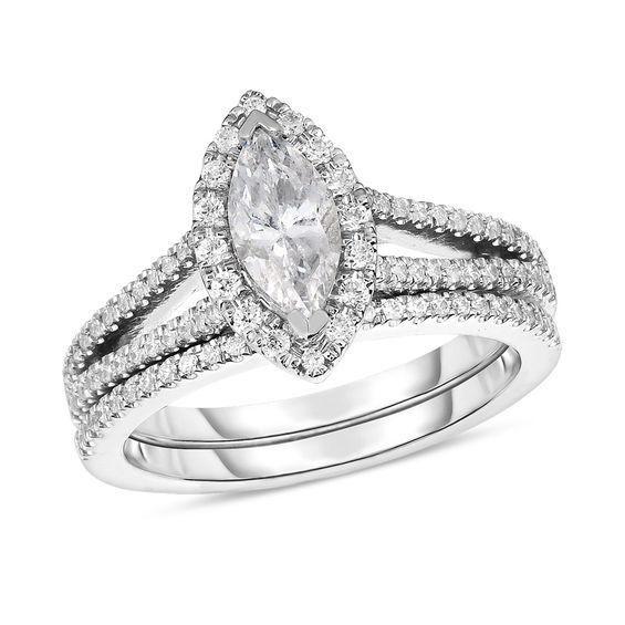 Zales 1/8 CT. T.w. Diamond Frame Collar Split Shank Promise Ring in 10K White Gold uPKTRe6