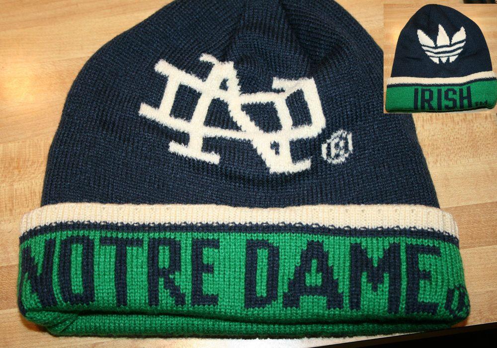 NOTRE DAME Fighting Irish Adidas Blue Green Knit stocking HAT cap Football #NotreDame