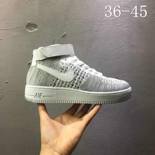 3ef7b6f6b859 Nike air force 1 AF1 Flyknit high Leaden Grey 817420 103