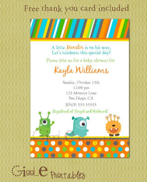 Monster Baby Shower Invitation   Free Thank You Card Included   Free  Customizable Printable Baby Shower  Free Customizable Printable Baby Shower Invitations