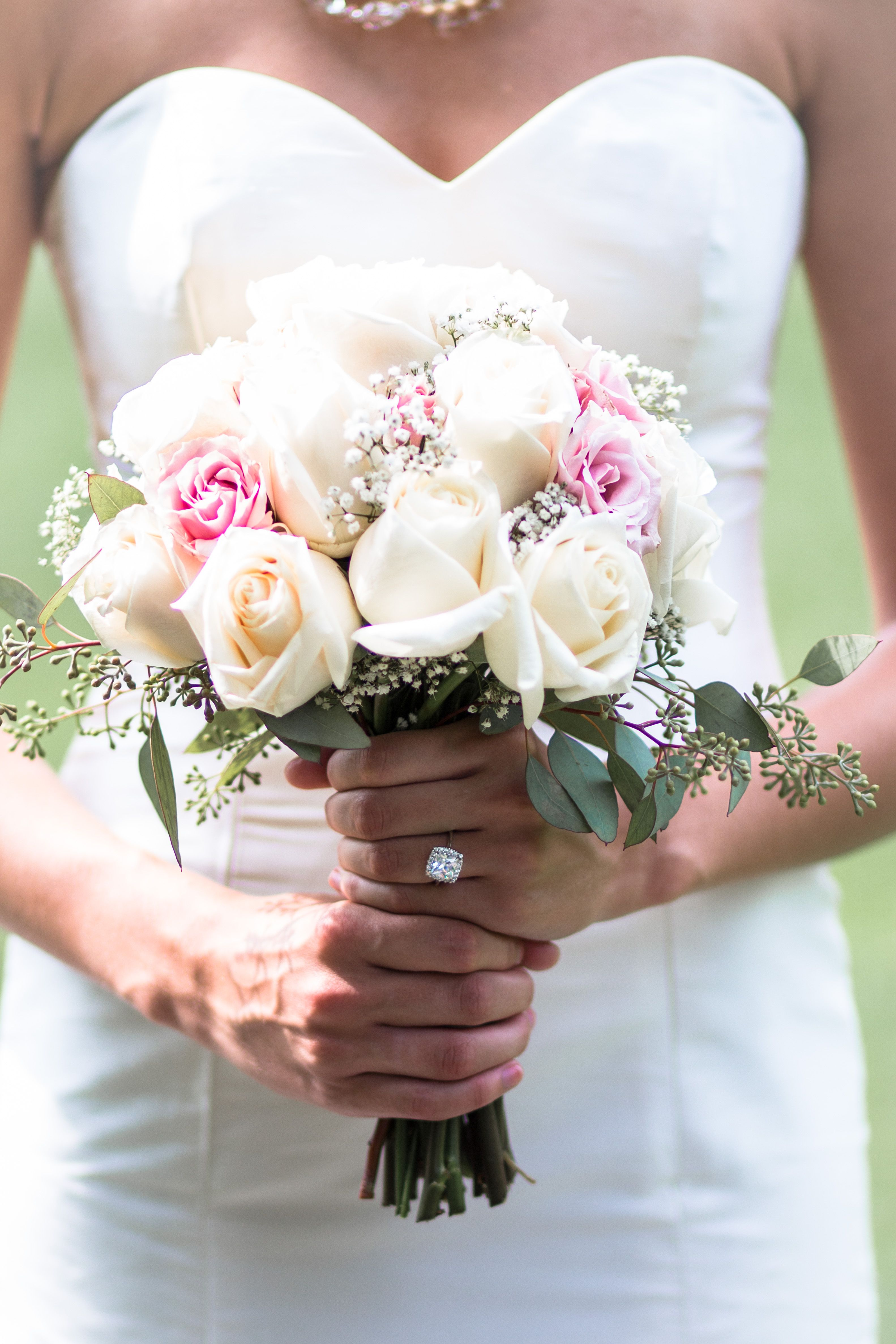 A Stunning Pink And White Rose Bridal Bouquet Bridal Bouquet