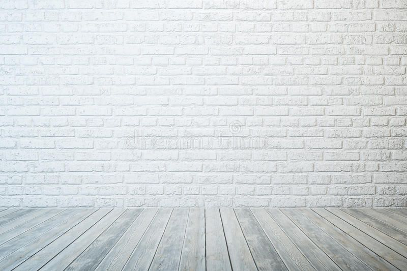 Empty White Room Empty Room With White Brick Wall And Wooden