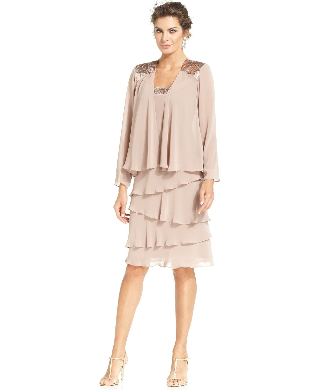 Sl sl fashion dresses - Sl Fashions Sleeveless Embellished Tiered Dress Shrug Macys Com Wedding Pinterest Tiered Dress Mob Dresses And Fashion