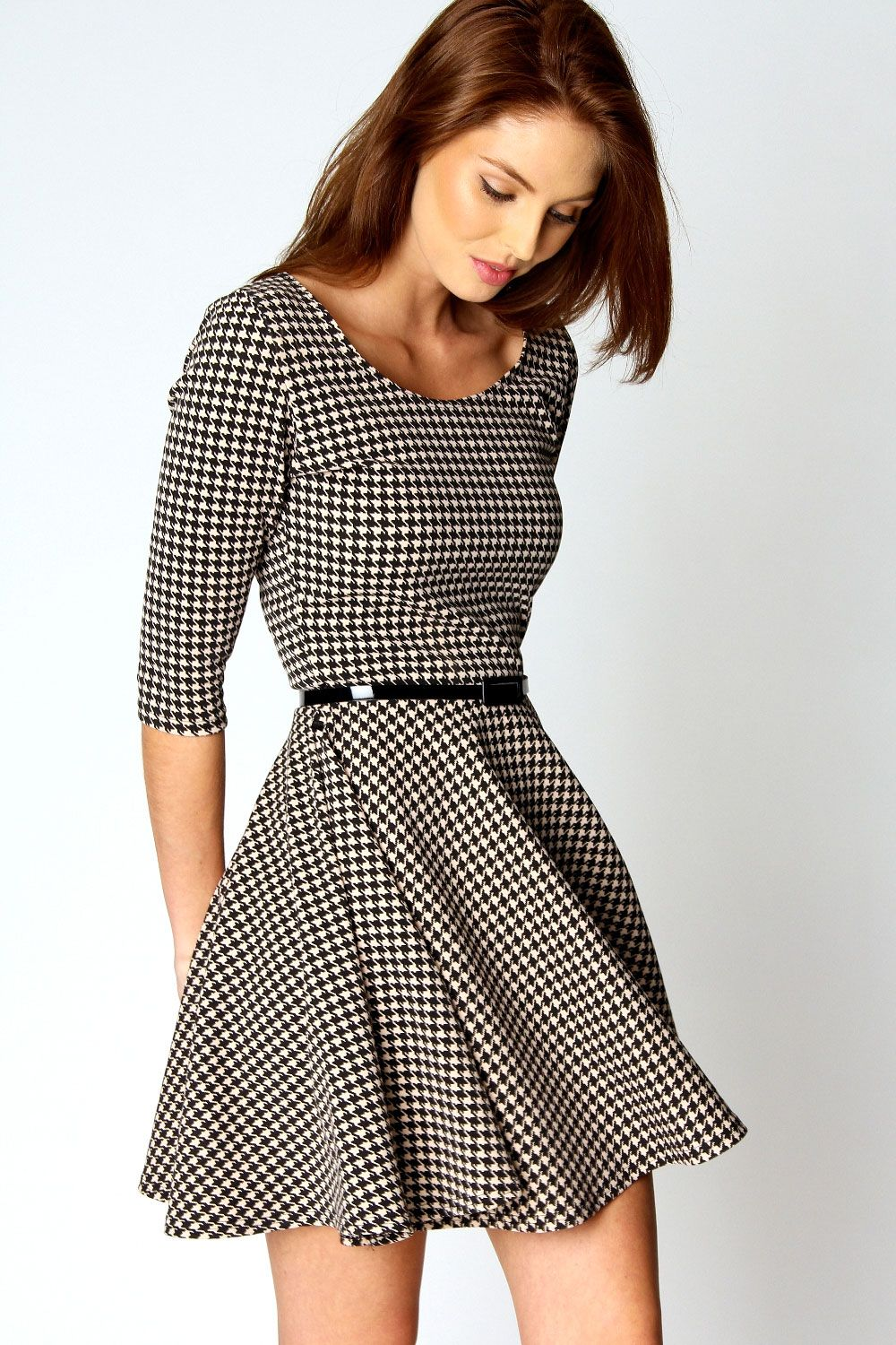 Details about Boohoo Zoe 3/4 Sleeve Dogtooth Belted Skater Dress ...