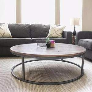 Round All Wood White Oak Coffee Table, Modern Solid Wood images