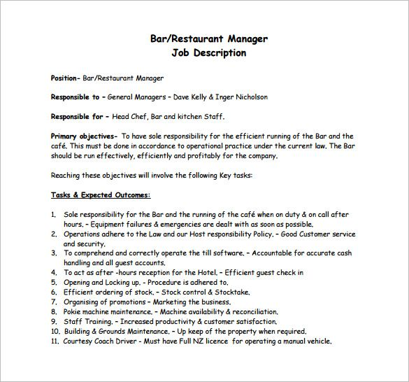 Restaurant Manager Job Description Job description template