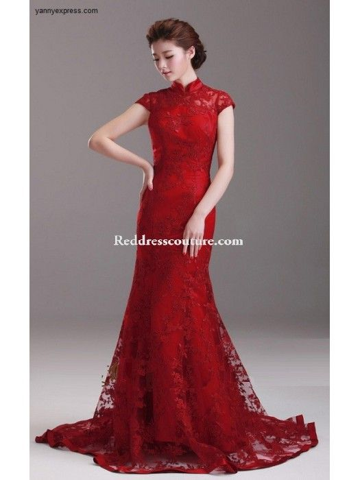 b1714e016ca Chinese Wedding Ball Gown Crimson Bridal Qipao Long Prom Dress Prom Dresses