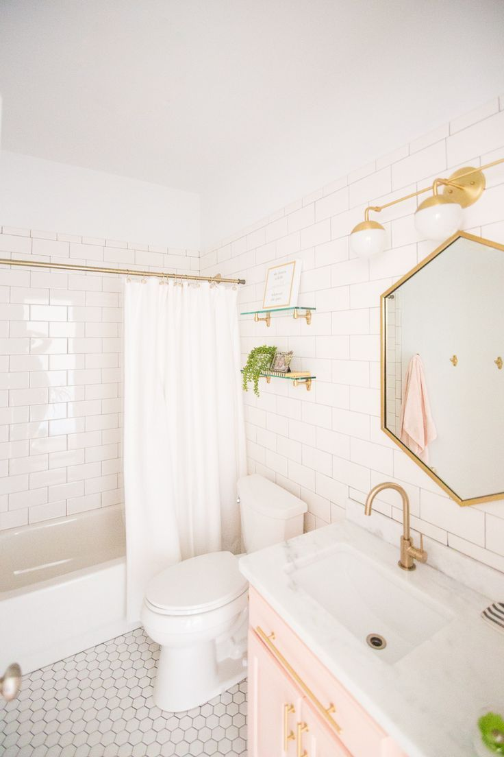 Modern Glam Blush Girls Bathroom Design   Girl bathrooms, Orb light ...