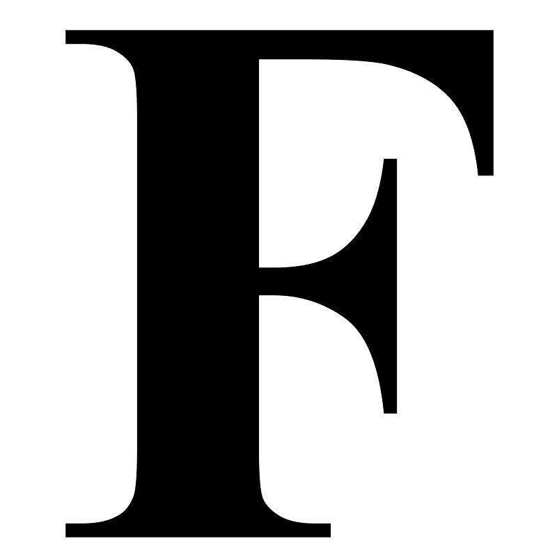 The Letter F in Black Times New Roman Serif Font Typeface by