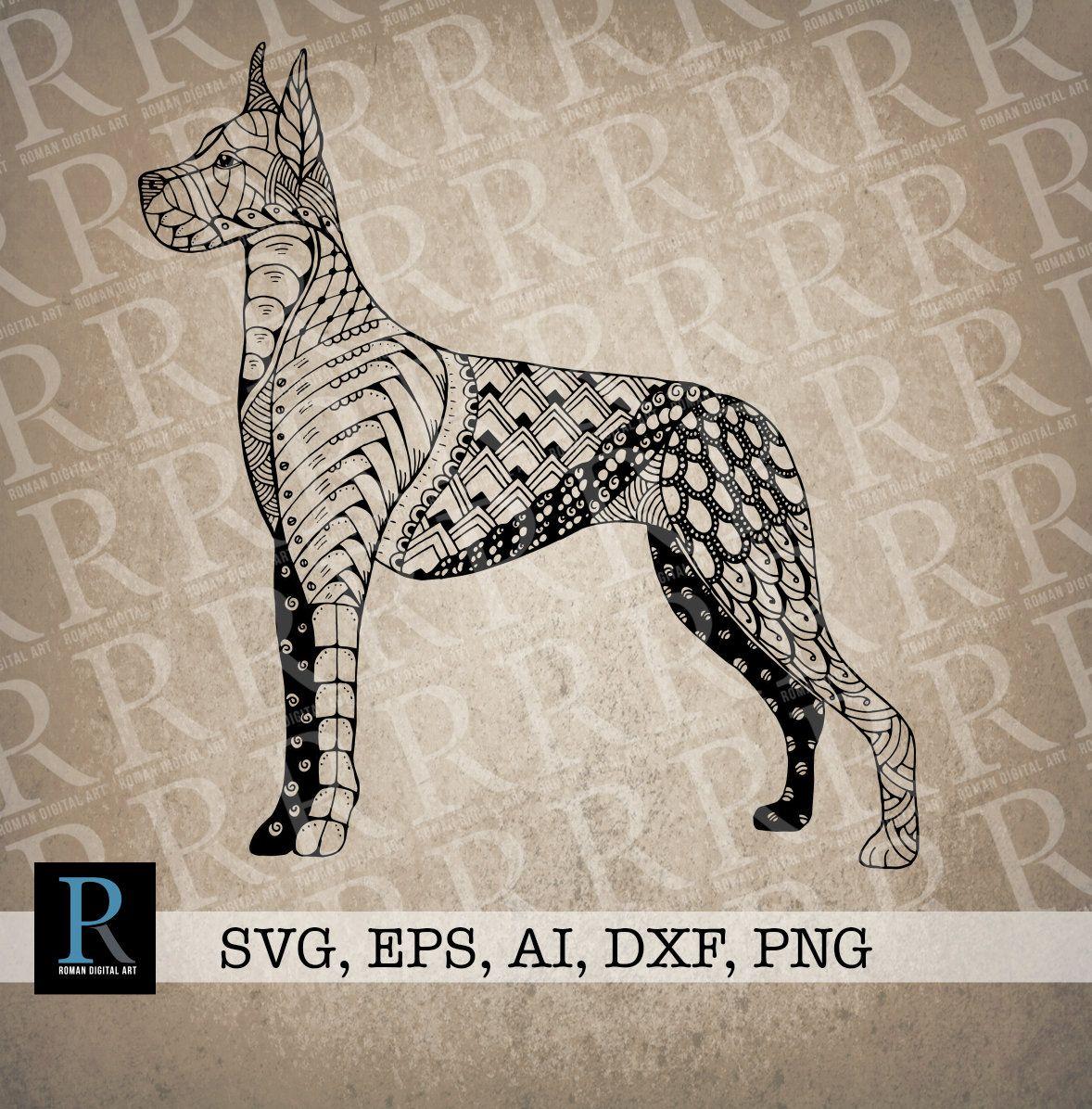 Zentangle Great Dane Svg Mandala Great Dane Svg Dog Coloring