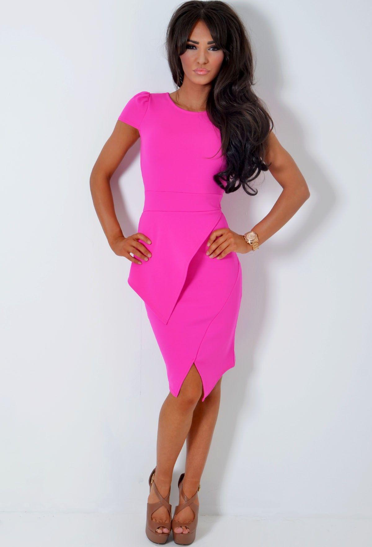 Ayzoe Magenta Pink Split Hem Peplum Bodycon Midi Dress | Stuff to ...