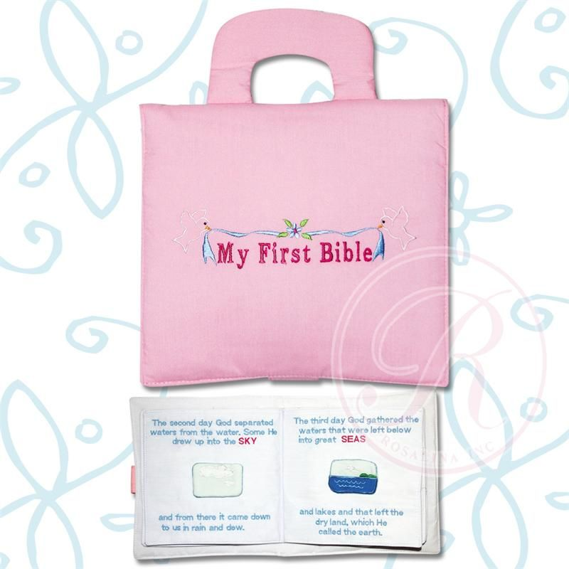 CLICK PIC TO BUY!  My First Bible in pink is a beautifully made fabric playbook that introduces children to the bible in a soft, hands on way. Embroidered cover and soft fabric pieces  that come on and off with velcro including the sky, the sun, the ocean, fish, Adam and Eve.  A gift to treasure.  13 Silk Screened Pages  Blue version also available for boys at www.nobleniches.com. #nobleniches #firstbible #childrensbible #adamandeve #babygift #Eastergift #Eastertoy #Easterbook…