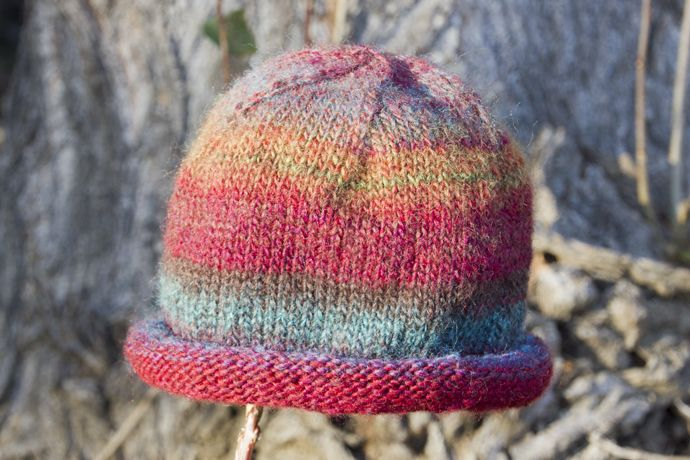 Roll Brim Hat Worsted Weight Or 2 Strands Sock Yarn