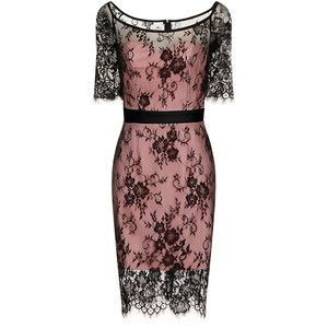 Pink dress with black lace overlay