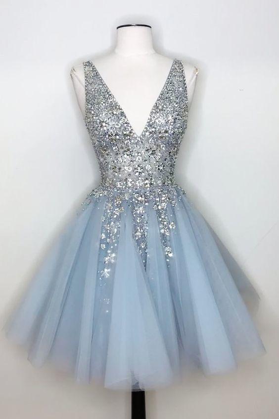 V-Neck Light Sky Blue Homecoming Dress with Sequins