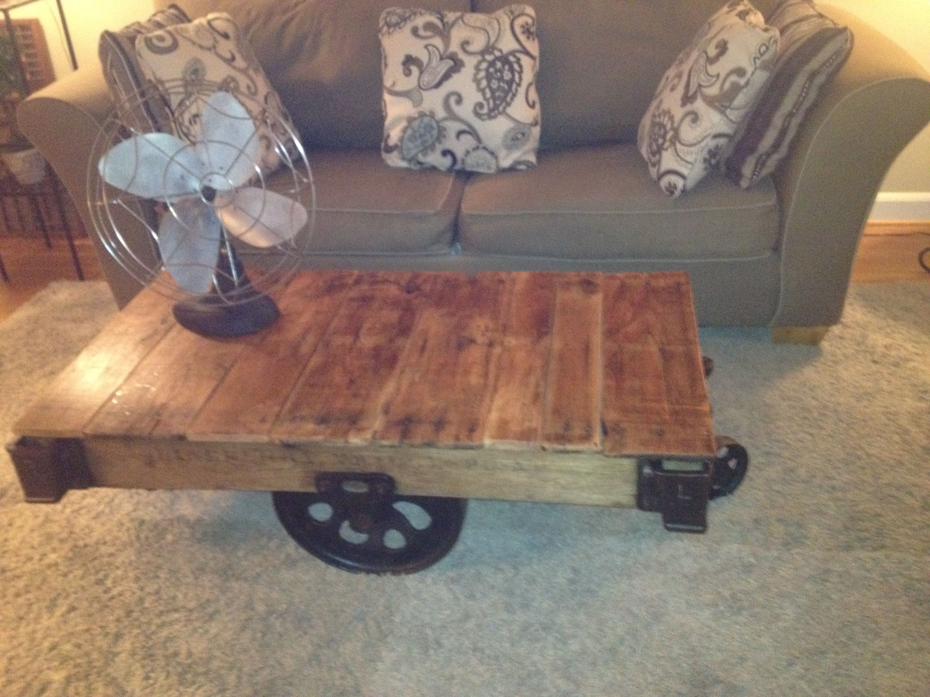 Industrial Factory Cart Coffee Table Large Vintage Industrial Nutting Factory Cart Coffee Table