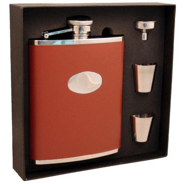 Visol Bobcat Brown Leather Jumbo Flask Gift Set - 18 ounces (Brown)
