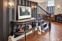Love the Grey & Black Striped Feature wall