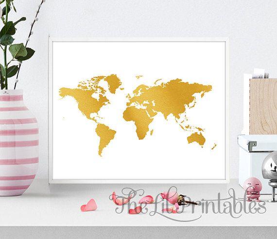 Faux Gold Foil World Map Wall Art Printable, World Map Art, Teen ...
