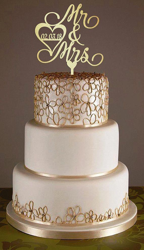 Wedding Cake Topper Heart Cake Topper Gold Wedding Cake Topper With Date Custom Cake Topper M Gold Cake Topper Wedding Custom Cake Toppers Wedding Cake Toppers