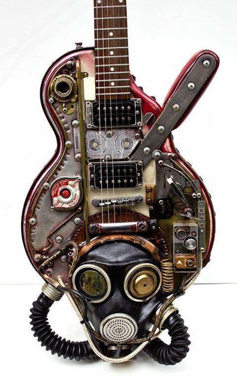 j 39 ai chosi le guitar parce que le guitar de steampunk a eu une masque de gaz steampunk. Black Bedroom Furniture Sets. Home Design Ideas