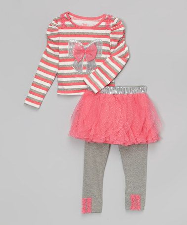 Another great find on #zulily! Pink & White Sequin Bow Tunic & Gray Skirted Leggings - Girls by Young Hearts #zulilyfinds