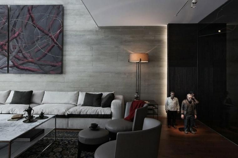Optische Effekte bei der Verwendung von Beton in Wänden 67 Ideen Haus - wohnzimmer ideen modern
